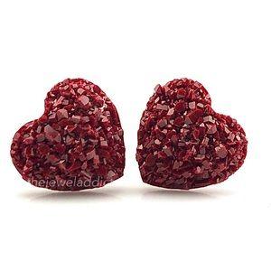 3 for $15🎀Maroon faux druzy heart earrings